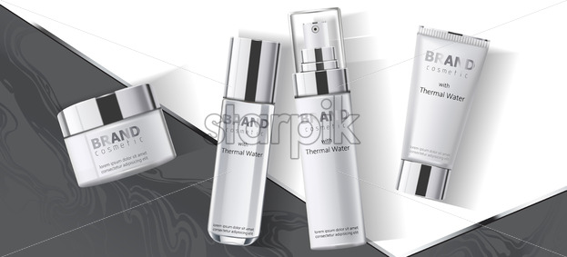 Collection of four cosmetics containers, thermal water. Place for text. Realistic 3D mockup product placement. Vector - Starpik Stock