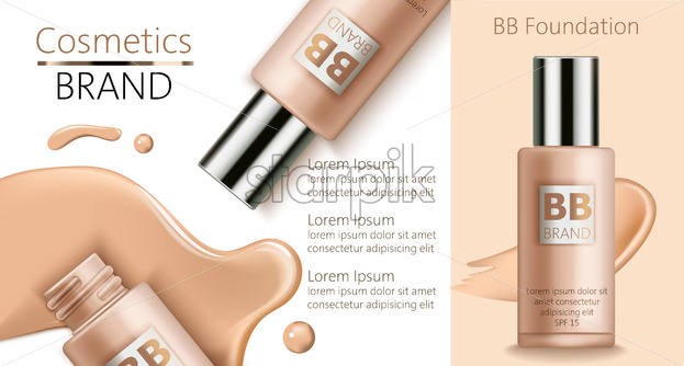 Composition of bottles with foundation. Spilled liquid on white background. Place for text. Realistic 3D mockup product placement. Vector - Starpik Stock