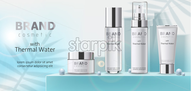 Composition of three containers with cosmetics, thermal water on teal podium with beads. Place for text. Realistic 3D mockup product placement. Vector - Starpik Stock