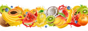 Composition of tropical fruits splashing in flowing juice. Watermelon, orange, coconut, kiwi, mango, banana, blueberries. Realistic 3D mockup product placement. Vector - Starpik Stock