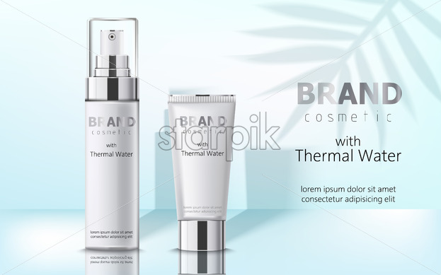 Composition of two containers with cosmetics, thermal water. Place for text. Realistic 3D mockup product placement. Vector - Starpik Stock