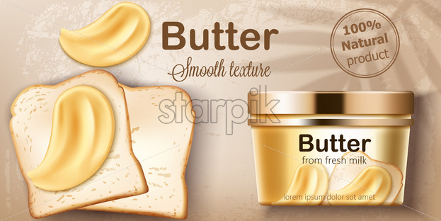 Container with natural butter from fresh milk. Spreading on toasted bread. Natural smooth texture. Place for text. Realistic 3D mockup product placement. Vector - Starpik Stock