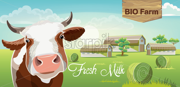 Cow with brown spots and a farm in background. Fresh bio milk. 3D mockup product placement. Vector - Starpik Stock