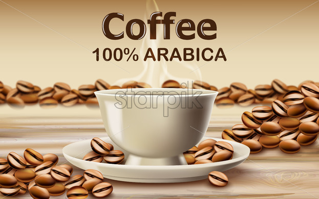Cup of arabica coffee on a wooden desk surrounded by roasted coffee beans. 3D mockup product placement. Vector - Starpik Stock