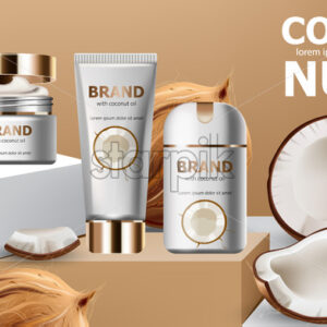 Deodorant and creams on podiums surrounded by whole and cracked open coconuts. Realistic. 3D mockup product placement. Place for text. Vector - Starpik Stock