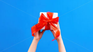 Female hands hold a gift box with red tape on blue background. Holiday concept. Front view - Starpik Stock