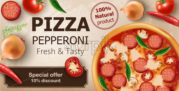 Fresh and tasty pepperoni pizza with tomatoes, chilli peppers, onions, basil and salami surrounding. Special offer 10 discount. Realistic 3D mockup product placement. Vector - Starpik Stock