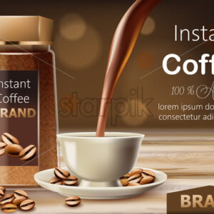 Glass jar with instant arabica coffee with roasted beans around it and a cup with liquid pouring from top. Place for text. 3D mockup product placement. Vector - Starpik Stock