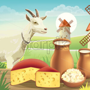 Goat on meadow with wind mills, near a table with cheese , cottage cheese and milk on top. Realistic. 3D mockup product placement. Vector - Starpik Stock