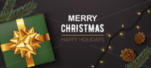 Green christmas gift box with golden ribbon with pine cones, twigs and festive lights. Happy holidays. Realistic 3D mockup product placement. Vector - Starpik Stock
