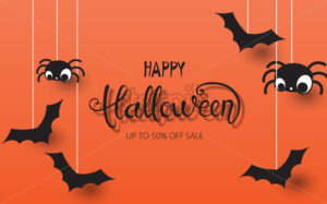 Happy halloween composition with spiders and bats hanging down. Up to 50 off sale. Vector - Starpik Stock