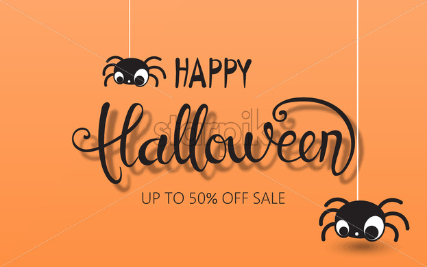 Happy halloween composition with two spiders hanging down. Up to 50 off sale. Vector - Starpik Stock