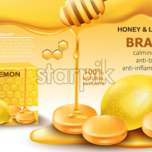 Honey and lemon drops with natural extracts. Calming effect. Antibacterial and anti-inflammatory. Place for text. Realistic 3D mockup product placement. Vector - Starpik Stock