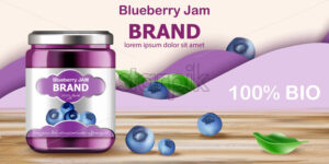 Jar filled with BIO jam surrounded by blueberries and purple waves in background. Place for text. Realistic 3D mockup product placement. Vector - Starpik Stock