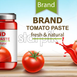 Jar with fresh and natural paste with tomatoes and flowing juice. Realistic 3D mockup product placement. Vector - Starpik Stock