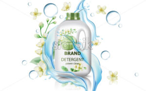 Jerrycan with detergent surrounded by flowers, bubbles and flowing water. Concentrated clean power. Realistic 3D mockup product placement. Vector - Starpik Stock