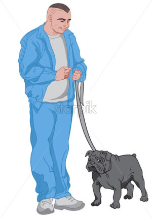 Joyful man dressed in blue walking out his black dog. Vector - Starpik Stock