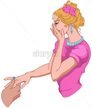 Joyful woman dressed in pink hides her smile while a man is putting a ring on her finger. Vector - Starpik Stock