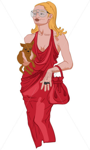 Joyful woman in elegant red dress holding her small dog. Vector - Starpik Stock