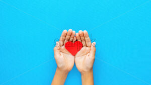 Man hands holds a red heart on blue background. Love concept. Top view - Starpik Stock
