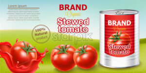 Metallic can standing on meadow surrounded by tomatoes. Place for text. Natural and organic stewed product. Realistic 3D mockup product placement. Vector - Starpik Stock