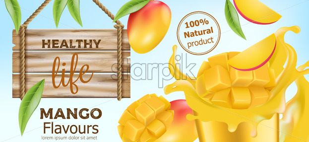 Natural whole and sliced mango with flowing juice around and a wooden sign near by. Product for healthy life. Place for text. Realistic 3D mockup product placement. Vector - Starpik Stock