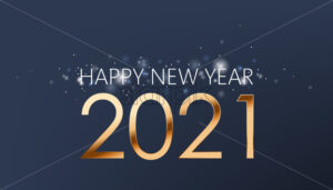 New year composition of golden numbers and silver sparkles on dark blue background. Realistic 3D mockup product placement. Vector - Starpik Stock