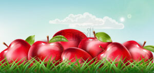 Pile of red apples laid down on the grass with clouds floating on sunny sky. Realistic 3D mockup product placement. Vector - Starpik Stock