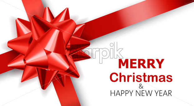 Plain white background with red ribbons. Merry Christmas and happy new year. Realistic 3D mockup product placement. Vector - Starpik Stock