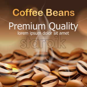 Premium quality coffee beans with smoke from them. Sparkling circles in background. Place for text. 3D mockup product placement. Vector - Starpik Stock