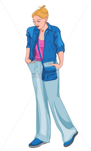 Sad woman dressed in blue and pink clothes holding her hand in the pockets. Vector - Starpik Stock