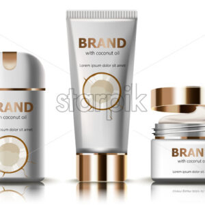 Set of deodorant and creams with coconut oil. Realistic. 3D mockup product placement. Place for text. Vector - Starpik Stock