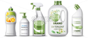 Set of dish soap, hand wash gel, universal cleaner and detergent. Place for text. Realistic 3D mockup product placement. Vector - Starpik Stock