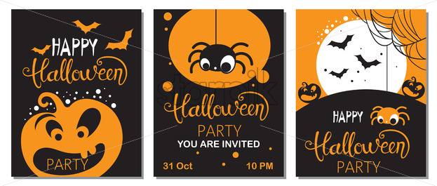 Set of halloween cards with carved pumpkins, spiders and bats. Party invitation. Vector - Starpik Stock