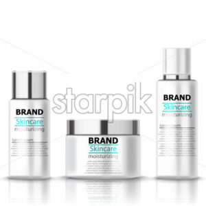 Set of moisturizing body lotion for skincare. Place for text. Realistic 3D mockup product placement. Vector - Starpik Stock