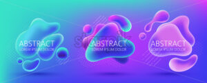 Set of three abstract background design of water blobs, white dots and lines pattern. Place for text. Realistic 3D mockup product placement. Vector - Starpik Stock