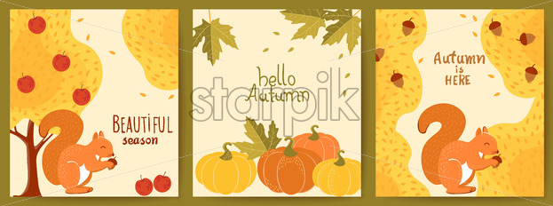 Set of three autumnal cards. Yellow trees, red apples, squirrels, pumpkins, maple leaves, acorns. Hello beautiful season. Realistic 3D mockup product placement. Vector - Starpik Stock
