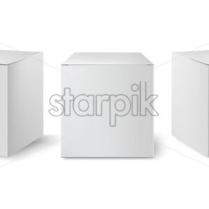 Set of three white boxes positioned at different angles. Realistic. 3D mockup product placement. Vector - Starpik Stock