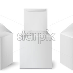 Set of three white boxes with opened lids positioned at different angles. Realistic. 3D mockup product placement. Vector - Starpik Stock