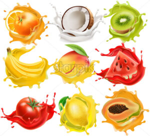 Set of tropical fruits and vegetables splashing in juice. Orange, coconut, kiwi, banana, mango, watermelon, tomato, lemon and papaya. Realistic 3D mockup product placement. Vector - Starpik Stock