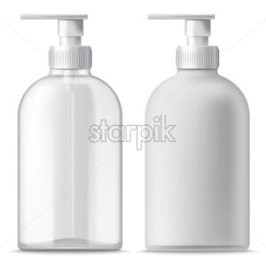 Set of two clear and white blanc dispensers. Realistic. 3D mockup product placement. Vector - Starpik Stock