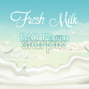 Splashing fresh milk from bio fam with blue sky in background. Place for text. 3D mockup product placement. Vector - Starpik Stock