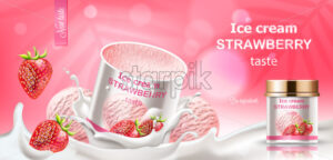 Strawberry ice cream jar submerged in milk with dropping berries and balls. Bio ingredients. Realistic 3D mockup product placement. Vector - Starpik Stock