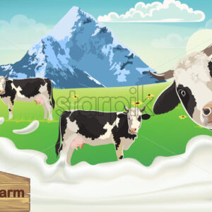 Three cows with black spots on a meadow looking at the camera. Mountains and blue sky in the background. Splashing milk from bio farm. 3D mockup product placement. Vector - Starpik Stock