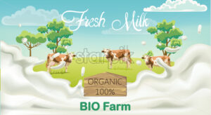 Three cows with brown spots on a meadow with trees. Splashing fresh milk from bio farm. 3D mockup product placement. Vector - Starpik Stock