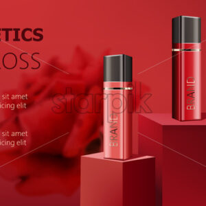 Three lip gloss containers on podiums. Realistic. 3D mockup product placement. Place for text. Vector - Starpik Stock