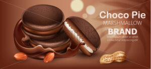 Three stacked choco pies with marshmallow surrounded by flowing chocolate and peanuts. Realistic. 3D mockup product placement. Place for text. Vector - Starpik Stock