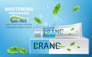 Tube of whitening toothpaste with mint on top. Carton box surrounded by bubbles, sparkles and leaves. Place for text. Realistic 3D mockup product placement. Vector - Starpik Stock