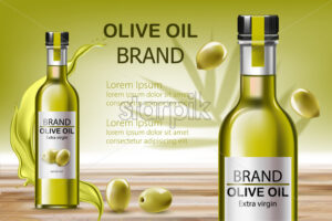 Two bottles with extra virgin oil. Surrounded by flowing liquid and olives. Place for text. Realistic 3D mockup product placement. Vector - Starpik Stock