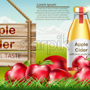 Two bottles with golden liquid inside standing on grass, with apples surrounding them and a wooden sign nearby. Place for text. Cider with real apple juice and original taste. Realistic 3D mockup product placement. Vector - Starpik Stock